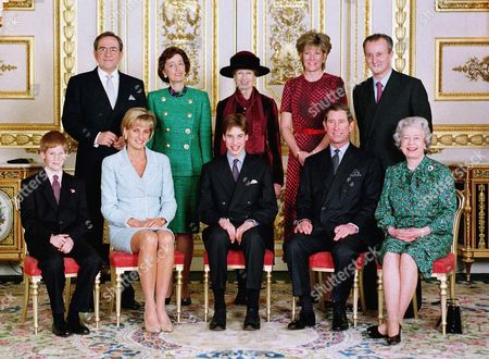 King Constantine, Lady Susan Hussey, Princess Alexandra Duchess of Westminster, Lord and Lady Romsey, Prince Harry, Princess Diana, William, Charles and Queen Elizabeth II
