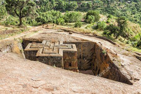 Monolithic rock-cut Church of Bete Giyorgis or Saint George, Unesco World Heritage Site
