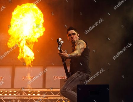 Castle Donington, Britain - Bassist Jason James Of Welsh Metalcore Group Bullet For My Valentine Performing Live On The Main Stage At Download Festival