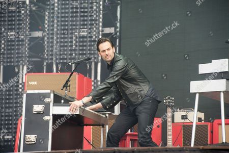 Castle Donington, Britain - Keyboardist Dean Fertita Of American Rock Group Queens Of The Stone Age Performing Live On The Main Stage At Download Festival