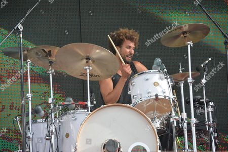 Castle Donington, Britain - Drummer Jon Theodore Of American Rock Group Queens Of The Stone Age Performing Live On The Main Stage At Download Festival