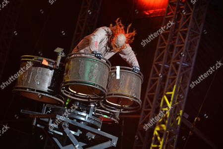 Castle Donington, Britain - Percussionist Shawn Crahan Of American Heavy Metal Group Slipknot Performing Live On The Main Stage At Download Festival