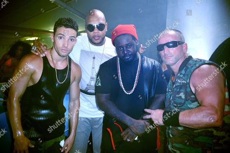 Stock Photo of J Rand, Flo Rida, T-Pain and Director Dale Rage Resteghini