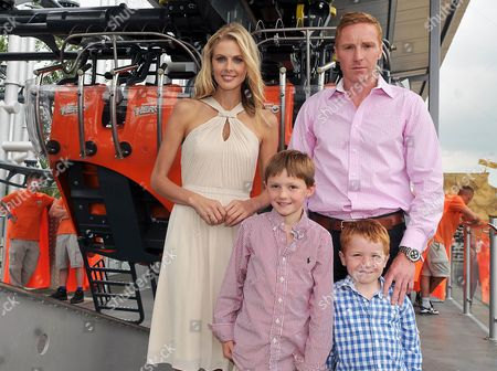 Stock Picture of Donna Air with Flamingo Land owner Gordon Gibb and his children Daniel and William