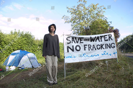 Natalie Rae Hynde at the Cuadrilla fracking site in Balcombe