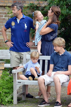 Stock Photo of Crown Prince Frederik, Crown Princess Mary, Prince Vincent and Princess Josephine, Count Richard von Pfeil und Klein-Ellguth