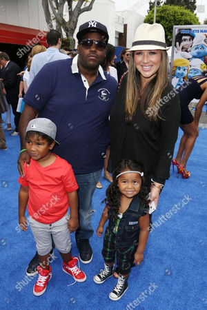 Stock Photo of Joy Enriquez, Rodney Jerkins with children Rodney David Jr. and Heavenly Joy Jerkins