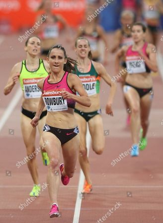 Shannon Rowbury of the United States celebrates crossing the line in first place in the Women's 3000m