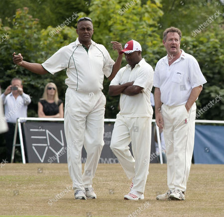Stock Image of Courtney Walsh, Brian Lara and Piers Morgan
