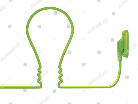 Green power cable in the shape of a light bulb