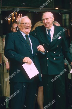 SIR HARRY SECOMBE AND SPIKE MILLIGAN AT THE MICHAEL BENTINE MEMORIAL SERVICE IN 1997