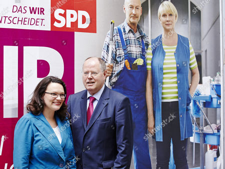 SPD Chancellor candidate Peer Steinbrueck and SPD General Secretary Andrea Nahles