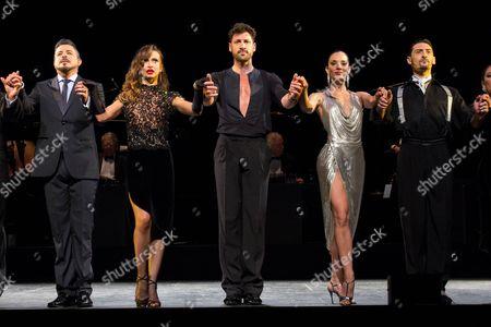 Stock Photo of Luis Enrique, Karina Smirnoff, Maksim Chmerkovskiy, Victoria Galoto and Juan Paulo Horvath