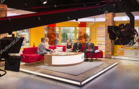 John Stapleton and Helen Fospero with Alison Waldock, Inayat Bunglawala and Nigel Farage.