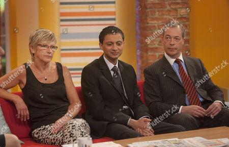 Stock Photo of Alison Waldock, Inayat Bunglawala and Nigel Farage.
