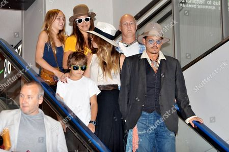 Stock Image of Johnny Depp, Jack Depp, Lily-Rose Melody Depp and Amber Heard