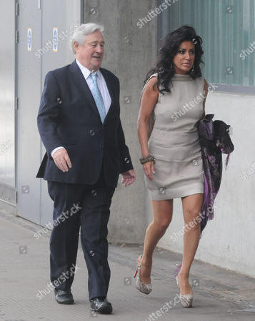 Nancy Dell'olio And Geoffrey Robinson Arrives At The Emirates Stadium In London For The Tony Blair Fundraiser Tonight.