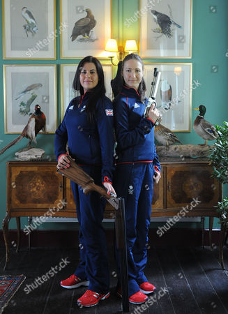 Stock Image of Olympics 2012 Feature Shooting. Bisley Shooting Ground. . Charlotte Kerwood Left And Georgina Geikie.