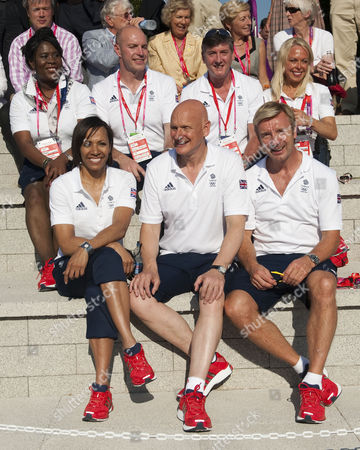 Back Row: Tessa Sanderson Adrian Moorhouse Robin Couzens Jane Torvill. Front Row: Dame Kelly Holmes Duncan Goodhew And Christopher Dean At The Welcome Team Gb To The At The Olympic Village Stratford East London.