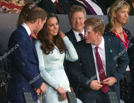London Olympics 2012 - Olympics Opening Ceremony- Prince William And Catherine Duchess Of Cambridge With Prince Harry And Colin Moynihan (behind).
