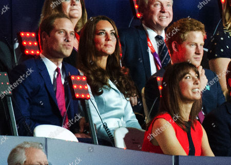 London Olympics 2012 - Olympics Opening Ceremony- Prince William And Catherine Duchess Of Cambridge With Prince Harry And Colin Moynihan (behind) And Samantha Cameron (front).