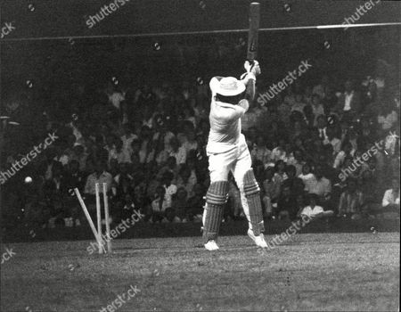 Floodlit Cricket Match At Stamford Bridge - Neil Smith Of Essex Is Bowled For Seven By West Indian Colin Croft.