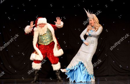 Claire Sweeney (Ice Queen) and Peter Edbrook (Santa Claus)