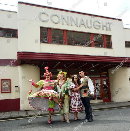 Stock Picture of Charlie Dimmock (Fairy Organic), Ian Mowat (Dame Trott), Allan Jay (Jack Trott) and Janine Pardo (Princess Amelia)