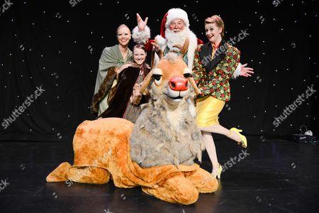 Stock Photo of Peter Edbrook (Santa Claus), Carys Gray (Ms Drift), Naomi Slater (Jenny) and Chrissy Kett (Anna)