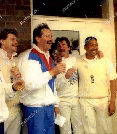 Cricket: West Indies Tour Of England 1991 - England Celebrate Winning 1st Test Match (l-r) Robin Smith Graham Gooch Allan Lamb And Phil Defreitas.