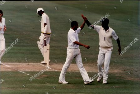 Cricket: Sri Lanka Tour Of England 1991 - Phil Defreitas (l) Is Congratulated By Chris Lewis.