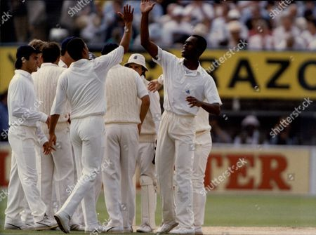 Cricket: West Indies Tour Of England 1991 - Chris Lewis Phil Defreitas And Mark Ramprakash Celebrate England Taking A Wicket.