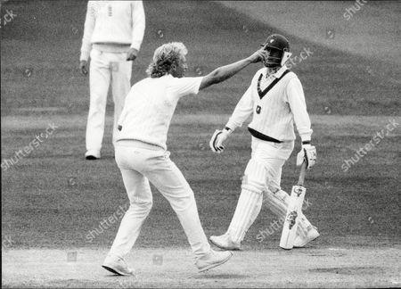 Editorial photo of Cricket: Australia Tour Of England 1989 - Graham Dilley Celebrates Sending Geoff Marsh On His Way.