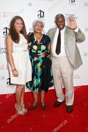 Billye Aaron and Hank Aaron with granddaughter Emily (left)
