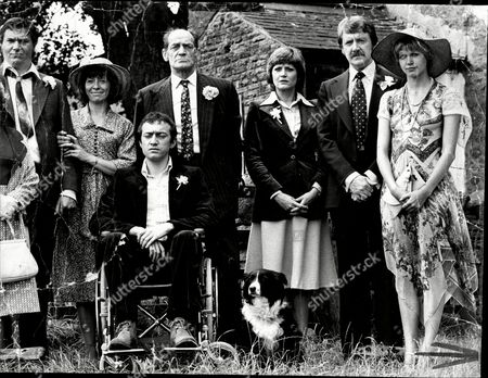 The Cast Of The Television Programme This Year Next Year Jill Summers Michael Elphick Anne Stalley George Irving (in Wheelchair) Kelly The Dog Teddy Turner Maynard Ronald Hines And Julie Peasgood.