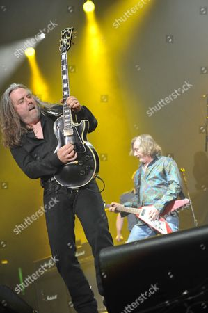 London, Britain - May 29: Guitarist Ben Matthews Of British Hard Rock Group Thunder Performing Live On Stage At Wembley Arena In London On May 29