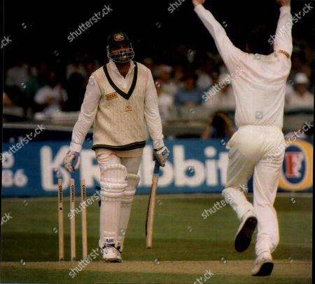 Cricket: 1993 Australian Tour Of England - England V Australia 3rd Test Match - Merv Hughes Is Bowled By Mark Ilott.