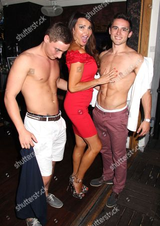 Stock Picture of Lizzie Cundy with her dancers, Matt and Rory Phelan