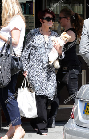 Sharon Osbourne and her Pomeranian dog, Mr Chips leaving the Daniel Galvin Hair salon