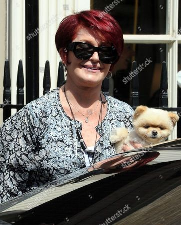 Stock Picture of Sharon Osbourne and her Pomeranian dog, Mr Chips leaving the Daniel Galvin Hair salon