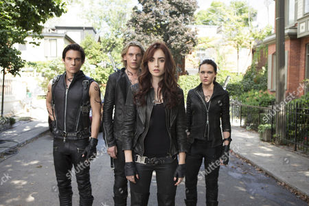 Stock Image of The Mortal Instruments City of Bones (2013) Robert Sheehan   Kevin Zegers, Jamie Campbell Bower, Lily Collins, Jemima West