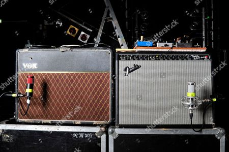 London United Kingdom - December 3: Vox Ac30 (L) And Fender Twin Reverb Amplifiers Used By Judah Bauer Of American Alternative Rock Band The Jon Spencer Blues Explosion - December 3