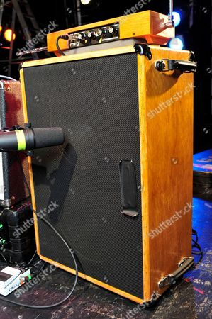 London United Kingdom - December 3: A Moog Earthwave Theramin And Speaker Cabinet Used By Jon Spencer Of American Alternative Rock Band The Jon Spencer Blues Explosion - December 3