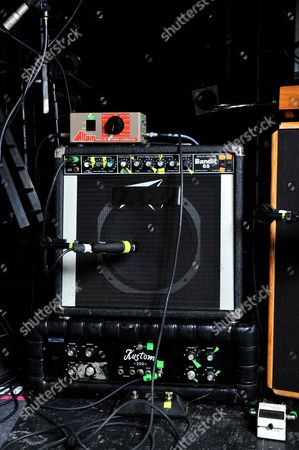 London United Kingdom - December 3: Peavy Bandit (Top) And Kustom Tuck N Roll Amplifiers Used By Jon Spencer Of American Alternative Rock Band The Jon Spencer Blues Explosion - December 3