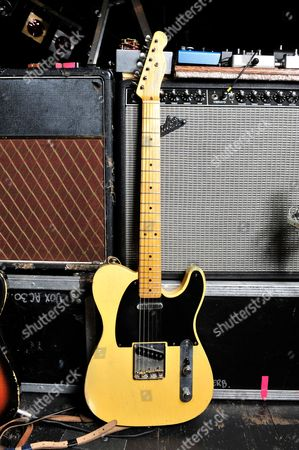 London United Kingdom - December 3: A Fender Telecaster Electric Guitar Used By Judah Bauer Of American Alternative Rock Band The Jon Spencer Blues Explosion - December 3
