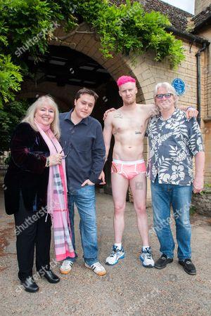(L-R) Dwina Gibb, RJ Gibb, William Graydon AND Ken Graydon outside the Gibb family home