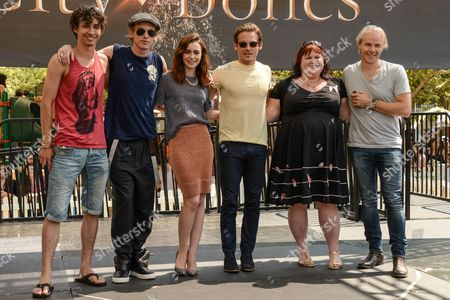 Stock Picture of Robert Sheehan, Jamie Campbell Bower, Lily Collins, Kevin Zegers, Cassandra Clare and Harald Zwart