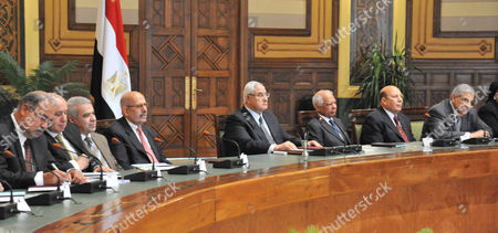 Interim President Adly Mansour attending the first meeting of the 20 newly appointed Egyptian Governors in Cairo