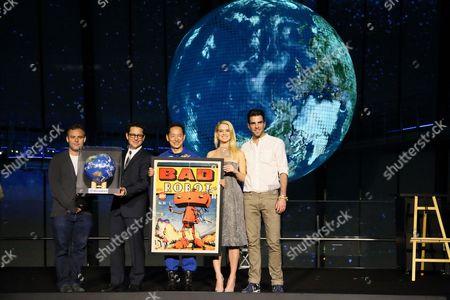 Bryan Burk, J J Abrams, Japanese Astronaut Mamoru Mohri, Alice Eve, Zachary Quinto