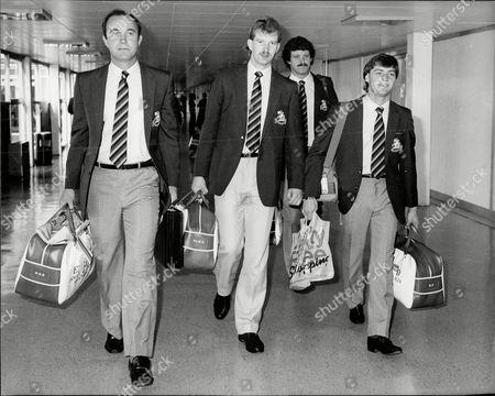 (l-r) Phil Edmonds Paul Allott Richard Ellison And Graeme Fowler Leave For Cricket Tour Of India.